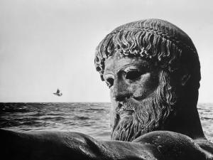 Bronze Statue of Poseidon, Greek God of the Sea by Gjon Mili