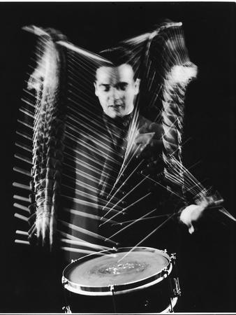 Drummer Gene Krupa Performing at Gjon Mili's Studio