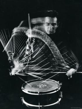 Drummer Gene Krupa Playing Drum at Gjon Mili's Studio by Gjon Mili