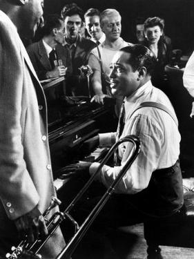 Jam Session with Duke Ellington, Audience Surrounding Piano to Listen by Gjon Mili