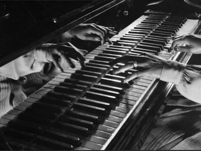 Jazz Pianist Mary Lou Williams's Hands on the Keyboard During Jam Session