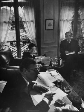 Jean Paul Sartre, Simone de Beauvoir and Saul Steinberg at Sartre's Home in Paris by Gjon Mili