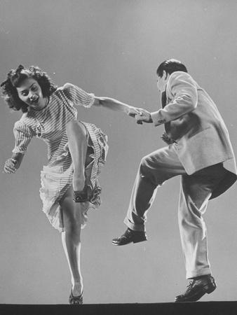 Kaye Popp and Stanley Catron Demonstrating a Step of the Lindy Hop