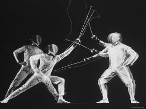 Multiple Exposure of New York University Fencing Champion Arthur Tauber Parrying with Sol Gorlin by Gjon Mili