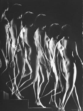 Multiple Exposure of Nude Female Descending Stairs by Gjon Mili