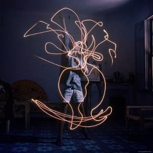 Pablo Picasso Drawing an Image Using a Light Pen by Gjon Mili