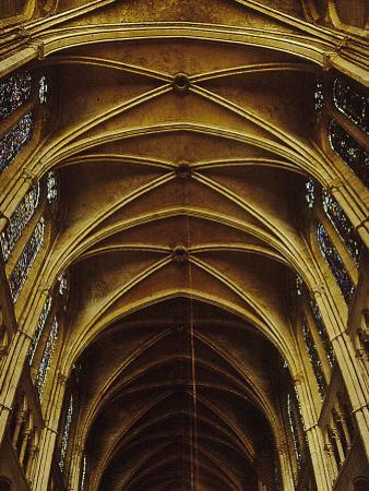 Panoramic View of Interior of Chartres Cathedral Looking up Nave Toward Main Altar by Gjon Mili
