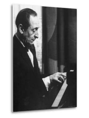 Pianist Vladimir Horowitz Playing the Piano at His Home in New York by Gjon Mili