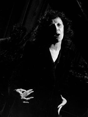 Singer Edith Piaf Singing on Stage by Gjon Mili