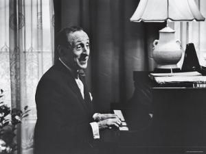 Very Good Portrait of Pianist Vladimir Horowitz Seated at the Piano at His Home in New York by Gjon Mili