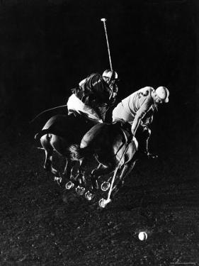 William Nicholls and William Rand of Squadron Polo Team Indoor Polo at National Guard Armory, NYC by Gjon Mili