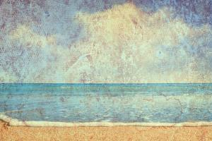 Beach And Sea On Paper Texture Background by Gladkov