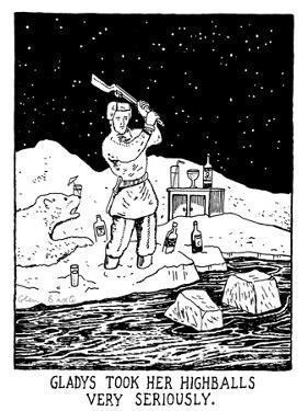 Gladys Took Her Highballs Very Seriously. - New Yorker Cartoon by Glen Baxter
