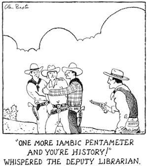"""""""One more iambic pentameter and you're history,"""" whispered the deputy libr… - New Yorker Cartoon by Glen Baxter"""