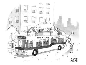 A city bus is seen with a rooftop bubble extension containing two arguing … - New Yorker Cartoon by Glen Le Lievre