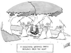 """""""A Successful Wedding Party Returns From the Hunt"""" - New Yorker Cartoon by Glen Le Lievre"""