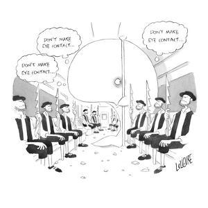 """A whale on a subway full of Captain Ahab-type whalers thinks to himself """"d…"""" - New Yorker Cartoon by Glen Le Lievre"""