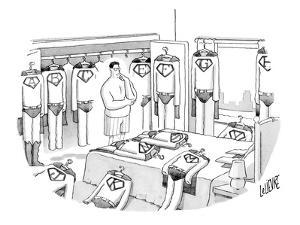 Superman is deciding what to wear, surrounded by costumes emblazoned with … - New Yorker Cartoon by Glen Le Lievre