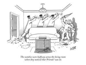 """The zombies were halfway across the living room when they noticed that """"Fr… - New Yorker Cartoon by Glen Le Lievre"""