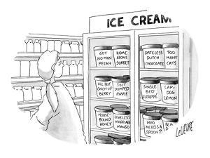 Woman at ice cream freezer looks at various flavors like, 'Got No Man Peca… - New Yorker Cartoon by Glen Le Lievre