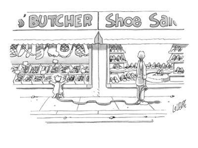 Woman, walking her dog, looks into window of shoe store as her dog looks i… - New Yorker Cartoon by Glen Le Lievre