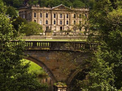 Bridge with Chatsworth House in the Background, Chatsworth, United Kingdom