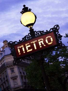 Classic Art Nouveau Metro Sign at Odeon Metro Station, Paris, France by Glenn Beanland
