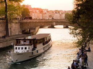 Cruiseboat and Sunset on the Seine by Glenn Beanland