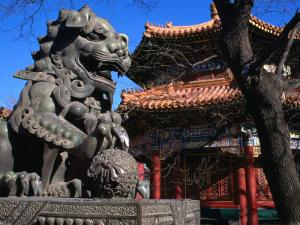 Lion Statue at Lama Temple Bejing, China by Glenn Beanland