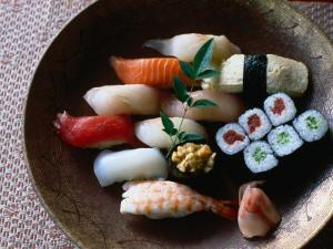 Sushi in a Wooden Bowl, Japan, by Glenn Beanland