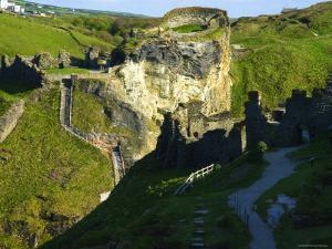The Castle Ruins at Tintagel, Tintagel, Cornwall, England by Glenn Beanland