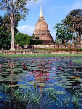 The Lotus Pond and Stupa in Sukhothai Historical Park, Thailand by Glenn Beanland