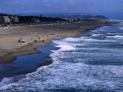 Wild Waves on Ocean Beach Seen from Sutro Heights Park, Outer Richmond, San Francisco, USA