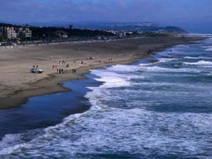 Wild Waves on Ocean Beach Seen from Sutro Heights Park, Outer Richmond, San Francisco, USA by Glenn Beanland