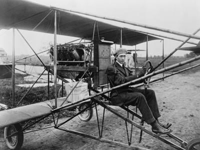 Glenn Martin Delivering Newspapers in His Airplane, 1911