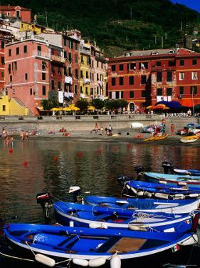 Harbour Boats on Ligurian Sea and Waterfront Buildings, Vernazza, Liguria, Italy by Glenn Van Der Knijff