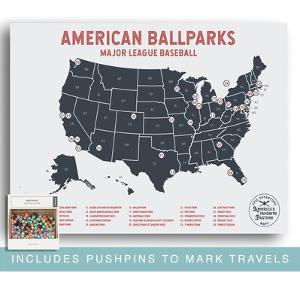 Major League Baseball Travel Map Poster - Mark Your Travels to Your Favorite MLB Baseball stadiums by Global Artisan Collective