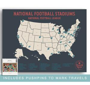 NFL Travel Map Poster - Mark Your Travels to Your Favorite Professional Football stadiums by Global Artisan Collective