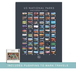 Pushpin  USA National Park Map - Interactive Educational Travel Map Poster by Global Artisan Collective