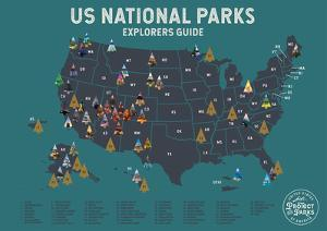 United States National Parks Scratch Off Poster in Blue by Global Artisan Collective