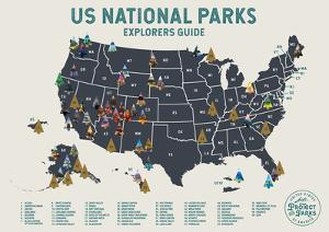 US National Parks Scratch Off Poster in Beige by Global Artisan Collective