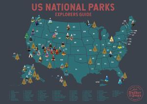 USA National Parks Scratch Off Poster in Grey by Global Artisan Collective