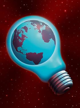 Globe Inside a Light Bulb