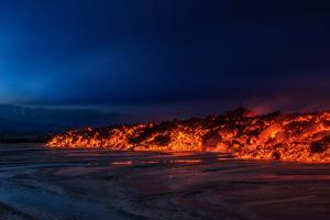 Glowing Lava from the Eruption at the Holuhraun Fissure, Near the Bardarbunga Volcano