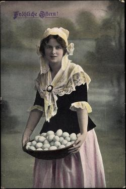 Glückwunsch, Geburtstag, Frau in Kleid, Eier Im Korb