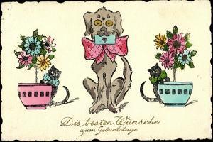 Glückwunsch Geburtstag, Hund Mit Brief, Katzen, Blumen
