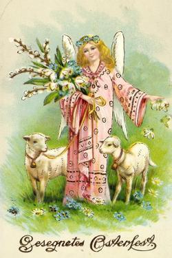 Glückwunsch Ostern, Engel Mit Weidenzweig, Lämmer