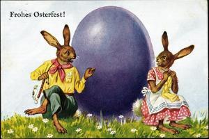 Glückwunsch Ostern, Hasenpärchen Mit Osterei
