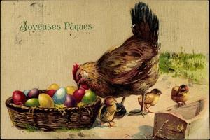 Glückwunsch Ostern, Henne Mit Küken, Ostereier