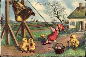 Glückwunsch Ostern, Junge Läutet Glocke, Küken, Eier